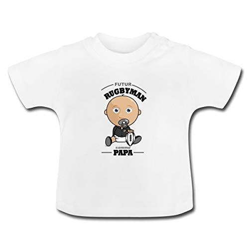 Spreadshirt Fils Futur Rugbyman comme Papa T-Shirt Bébé, 18-24 Mois, Blanc