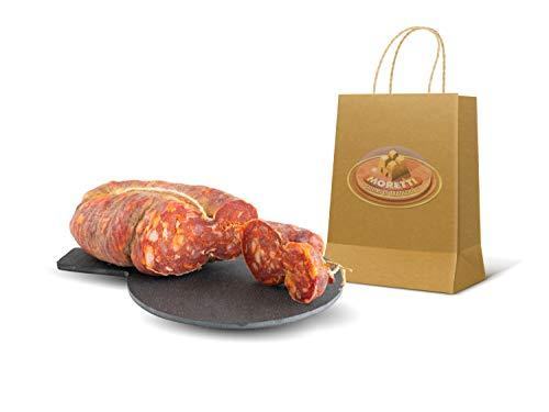 Moretti | Soppressata Stagionata Artigianale Piccante | 2 Confezioni in sottovoto da 300g/350g tot. 600g/700g | Peperoncino Calabrese Biologico | Salame Tradizionale | Regalo Tagliere In Legno