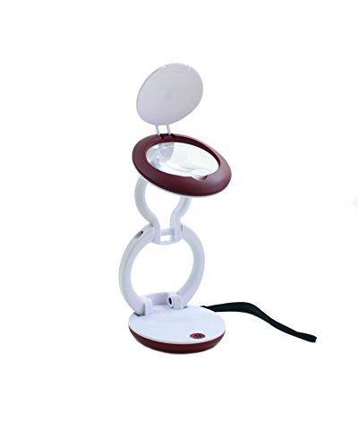 Daylight Company Natural, ligero y compacto plegable lupa con luz, color blanco/rojo