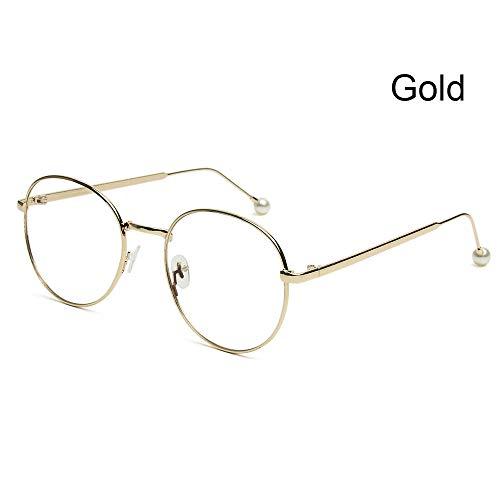 Huayuan Gafas unisex anti luz azul, marco de metal ultraligero, gafas para juegos de computadora, gafas con bloqueo de rayos azules, gafas para el cuidado de la vista-2 - oro