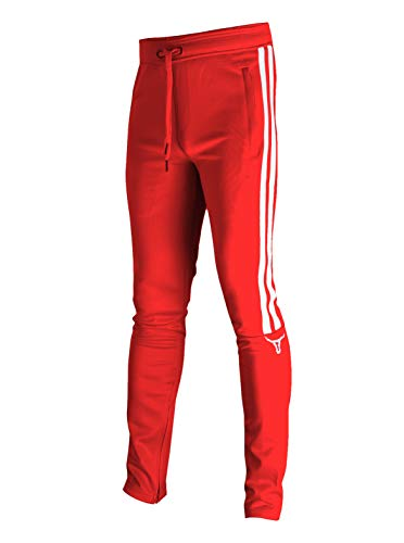 SCREENSHOT-P11008 Mens Hip Hop Premium Slim Fit Track Pants - Athletic Jogger Double Side Taping Monocolor Streetwear Bottoms-Red-Medium
