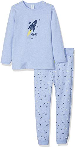 Sanetta Sanetta Baby-Jungen Pyjama Long Zweiteiliger Schlafanzug, Blau (Oxford Mel 50252.0), 92
