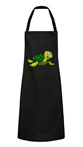 Kochschürze - Schildkröte Cartoon Comic Freudig - Grillschürze Unisex für Damen und Herren