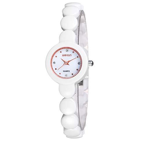 SJXIN schöne und stilvolle SKONE Uhr, Weiße Keramik Tisch Strass Gelee Damenuhr Raum Keramik Armband Uhr weiblich Mode Uhren (Color : 1)