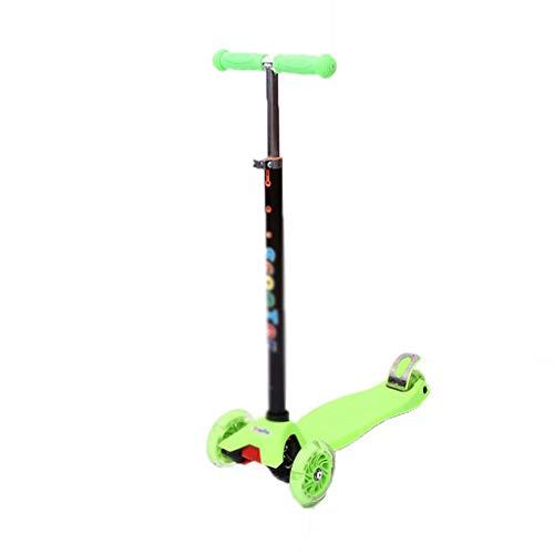 YLJJ Scooter de 3 Ruedas, para niños y niños pequeños, niños y niñas con Ruedas LED Intermitentes, Altura Ajustable, niños de 3 a 12 años, Verde
