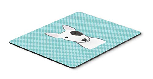 Caroline's Treasures BB1147MP Checkerboard Blue Bull Terrier Mouse Pad, Hot Pad or Trivet, Large, Multicolor