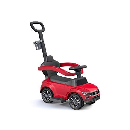 GDToys Volkswagen T-ROC Lizenz VW Schub und Haltestange mit Lenkfunktion Rutscher Rutschfahrzeug Rutschauto Kinderfahrzeug Kinderauto!! (ROT)