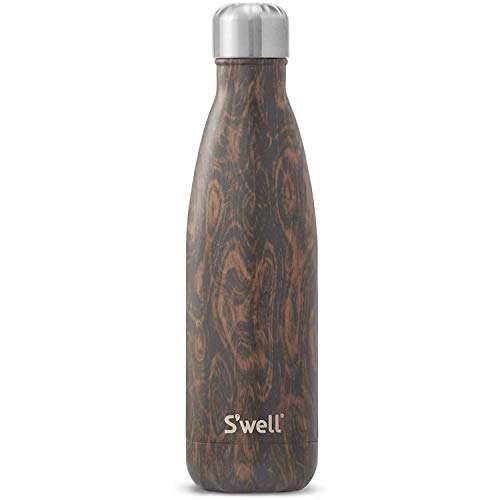 S'well Stainless Steel Bottle-500ml-Triple-Layered Vacuum-Insulated Keep Perfect for The Go Food and Drinks Condensation-BPA Free Water Bottle, 17oz, Hot and Cold Wenge Wood
