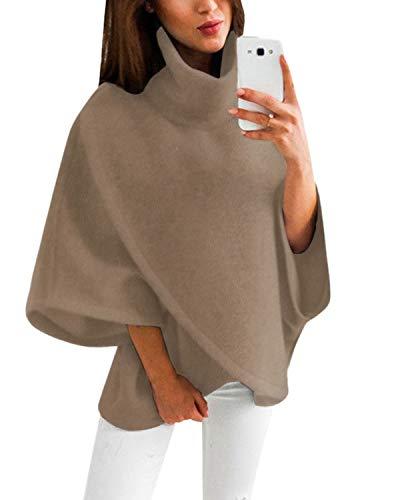 YOINS Damen Pullover Oberteil Poncho Winter Warm Asymmetrische für Damen Pulli Cardigan Sweatshirt Rollkragenpullover Langarm Braun L