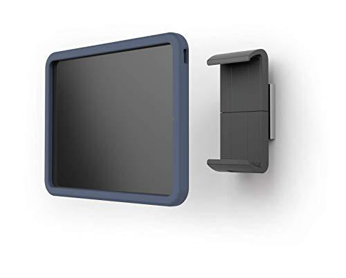 Durable 8392823 Tablet Holder Wall Xl, Porta Tablet da Muro, Per Tablet con Cover Protettiva, Ruotabile di 360°, Argento
