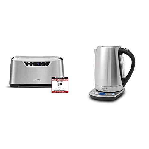 CASO NOVEA T4 Design Toaster für 4 Scheiben, mit Motorlift, 9 Bräunungsstufen & WK2200, Edelstahl Wasserkocher mit Temperatureinstellung, 1.7 Liter, in 10°C Schritten von 40°C-100°C