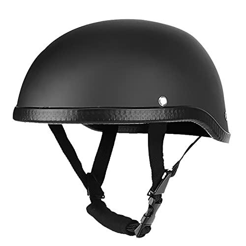 Motorrad Halbhelm Mütze Retro Open-Face Motorrad Helm Vintage Schädelkappe Für Roller Moped Für Männer Und Frauen Straße ECE/DOT-Zertifiziert (56-62Cm),Matte black