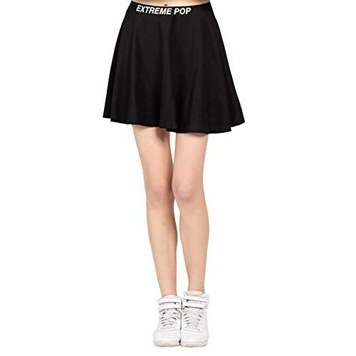 Extreme Pop Damen Kurze Röcke Elastische Taille Kleid Mädchen Tennis Rock Skater Stretchy ausgestellte Shorts UK Brand (XL, Schwarz)