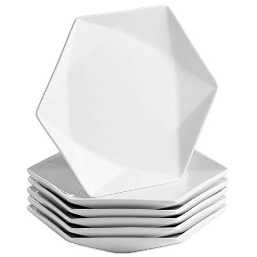 Mitbak 8 Inch Porcelain Salad Plates | Set of 6 Elegant Diamond Shaped Natural White Dinnerware Set For Dinner, Holidays, Restaurant, Salad, Cheese, Dessert | White Dishes Make An Excellent Gift Idea