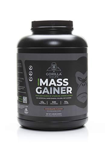Gorilla Gulps – Chocolate Vegan Mass Gainer – 5 lb Natural High Calorie Protein Powder: GMO, Gluten, & Soy Free. No Artificial Ingredients – Vitamin B12 + D3, & Iron – 530 Calories – 18 Servings