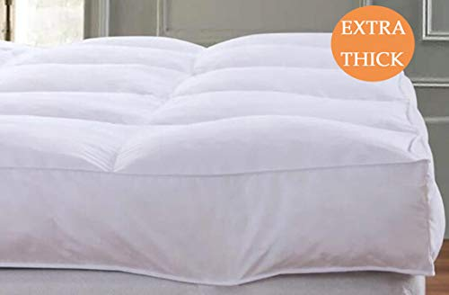 QUEEN ROSE Cooling Extra Thick Mattress Topper Queen Pillow Top,Plush Pillow Top Mattress Pad Cover Bed Mattress Topper,Hotel Quality,Down Alternative, Plush and Support,3in
