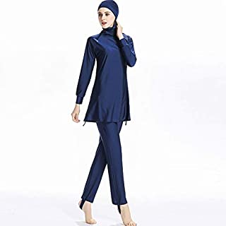 BEESCLOVER Hoodie Modest Muslim Swimwear Women Islam Two Piece Full Cover Islamic Swimsuit Long Sleeve Hijab Solid 6XL Size Beachwear Blue 4XL