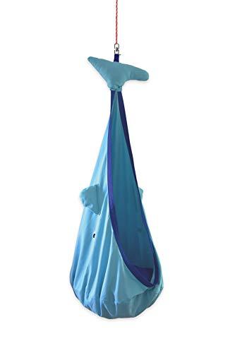 snuutje Hängehöhle für Kinder Willo der Wal (Schadstoff geprüft und GS-Zertifiziert, aus 100{011cd1e017bb4986651cca2c329b097573ff7840773f3808f37b8f97fc47f14a} Baumwolle, hält bis 80 kg, mit Zubehör) blau