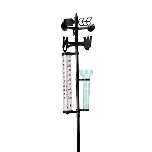 Bouder Gartenwetterstation Wetterstation Meteorologisches Messgerät Regenmesser Thermometer Windanzeige Garten Outdoor Wetterstation Meteorologische Messfahne Werkzeug