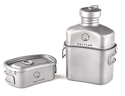 Valtcan Titanium Canteen Military Mess Kit 1100ml 37oz Capacity with...