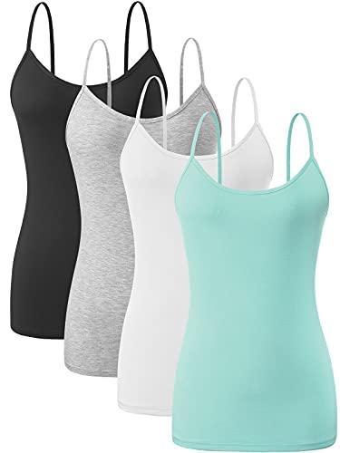 Vislivin Camiseta de tirantes para mujer ajustable con correa de espaguetis, Pack de 4 - Negro/Gris/Blanco/Azul, S