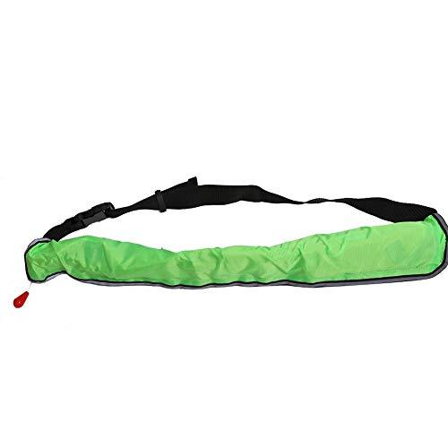 REALM-ARK Aufblasbarer Schwimmwesten-Sicherheitsgürtel mit reflektierenden Bändern und verstellbarem Trageriemen zum schnellen Aufblasen(Grün)