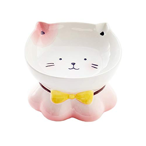LIONWEI LIONWELI Pink CeramicTilted Raised Pet Bowls for Cats and Dogs Elevated Cat Food Bowls Water Bowl Dish Stress Free, Backflow Prevention, Made to FDA/EC&ECC European Standard(300ML)