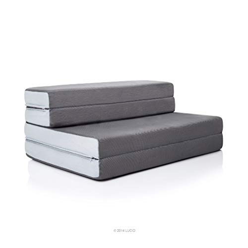 LUCID 4 Inch Folding Sofa and Play Mat - Comfortable and Durable Foam - Washable Cover - King