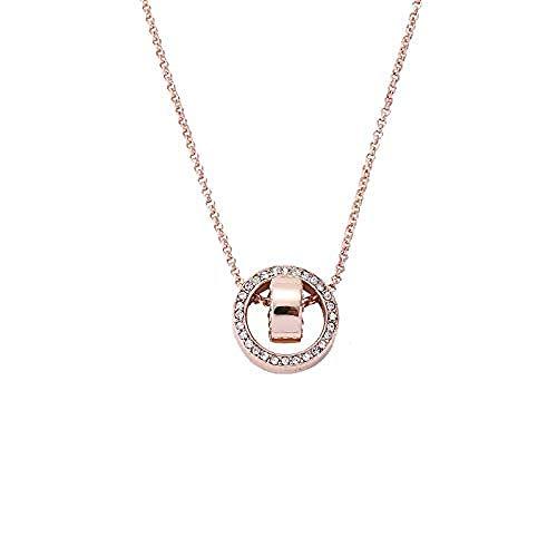 JSYHXYK Collar Collar De Cristal De Doble Círculo Diez para Girar Colgante De Círculo De Doble Círculo Accesorios De Cadena De Clavícula De Oro Rosa De 18 Quilates para Mujer