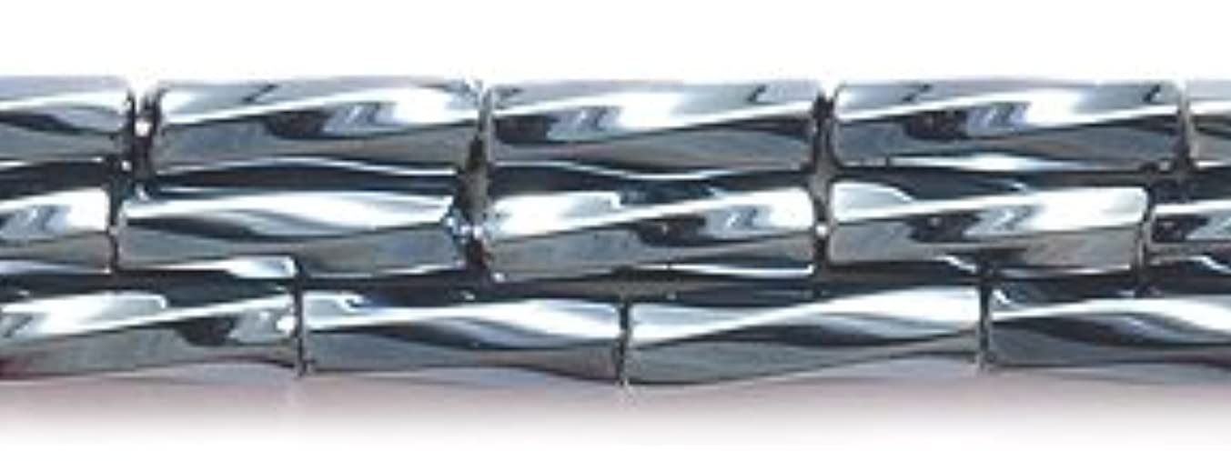 Preciosa Ornela Czech Twisted Bugle Glass Bead No.3, 2 by 7mm, Luster, Gunmetal
