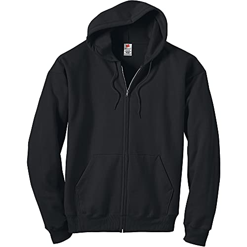 Hanes Men's Big and Tall Full-Zip Eco-Smart Hoodie, Black, 3X-Large
