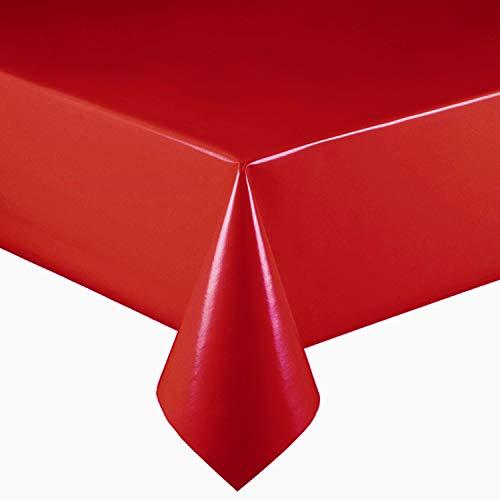 DecoHomeTextil Lacktischdecke Wachstuch Wachstischdecke Tischdecke Gartentischdecke Farbe & Größe wählbar Rot 160 x 100 cm Eckig abwaschbar