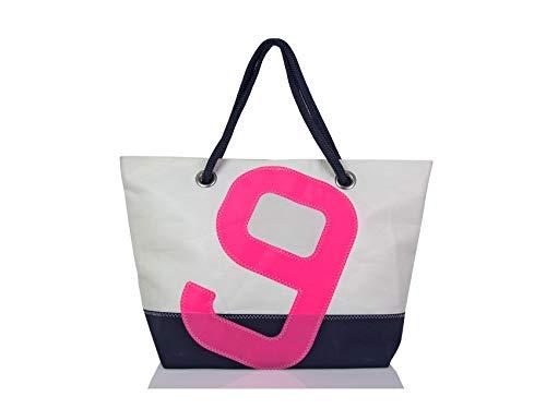 727Sailbags CARLA, handtas shopper strandtas voor dames, handbagage, van gerecycled Dacron-zeil, acrylbodem marineblauw, aantal 9 roze