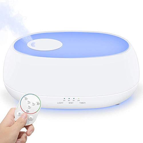 Baiye Luchtbevochtiger, aroma-diffuser, 1 liter olie, led-luchtbevochtiger met 7 kleuren, voor baby, slaapkamer, kantoor met nachtlampje, miststanden, instelbaar, timer