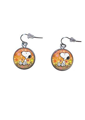 Edelstahl hängende Ohrringe, Durchmesser 20mm, handgemacht, Illustration Snoopy 3