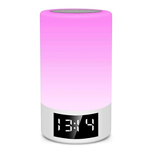 XFSE Haut-Parleur sans Fil Bluetooth Carte FM Radio-réveil Tactile Gradation Lampe De Table Créative Lumière Colorée Chevet Veilleuse Portable Haut-Parleur Bluetooth