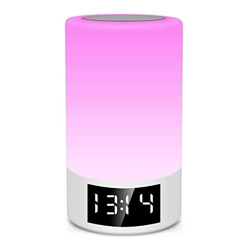 XiaoDong1 Tarjeta De Altavoz Bluetooth Inalámbrico Radio FM Reloj Despertador Atenuación Táctil Lámpara De Mesa Creativa Luz Colorida Luz De Noche Luz De Noche Portátil Bluetooth Altavoz