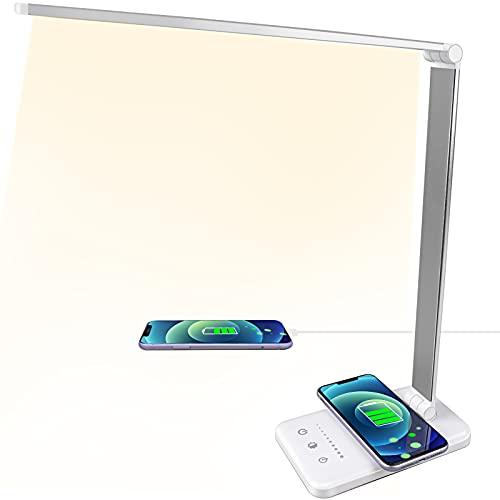 ACADGQ Lampada da Scrivania LED con Ricarica Wireless, USB Lampada da Tavolo Pieghevole, Lampada Touch Control, 5 Modalità di illuminazione 5 Livelli di Luminosità per Cameretta, Ufficio, Lettura