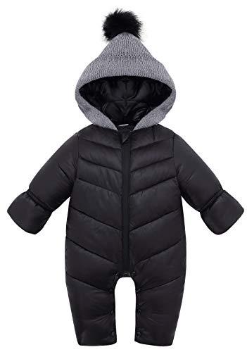AUBIG Baby Daunenanzug Schneeanzug Jungen Mädchen Winter Baby Winter Overall Mit Kapuze Verdickter Warmer Schwarz 6-12 Monate