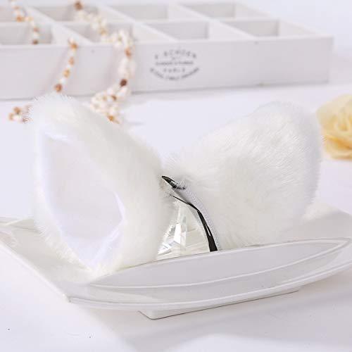Süßer reizender Anime Lolita Cosplay Phantasie Neko Katze Ohren Haarspange Weiß mit Rosa für Mädchen (Color : White)