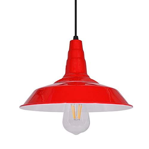 Luces de techo colgantes para interiores Vintage, pantallas de lámparas de iluminación de techo rojas, altura ajustable, base E27, iluminación blanca cálida de 5 vatios, para cocina salón dormitorio