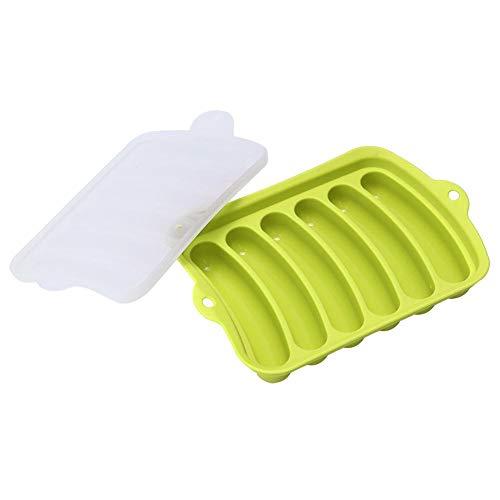 Ladieshow 6 Cavity Wurstform DIY Silikonwurstherstellung Schinken Hot Dog Schimmel Küchenbackwerkzeug(Grün)