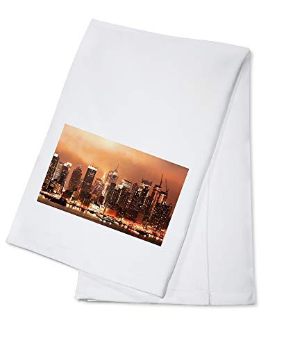 New York City - HDR Image of the Midtown Manhattan Skyline at Night A-9013209 (100% Cotton Kitchen Towel)