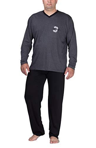 Moonline Plus Schlafanzug Herren lang übergroß aus Baumwolle, Farbe:anthrazit, Größe:5XL