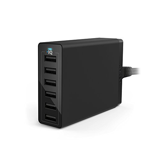 Anker PowerPort 6 (60W 6-Port USB Ladegerät) Family-Sized Desktop Ladeadapter mit PowerIQ Technologie für iPhone, iPad, Samsung, Nexus, HTC, Nokia, Motorola und weitere (Schwarz)