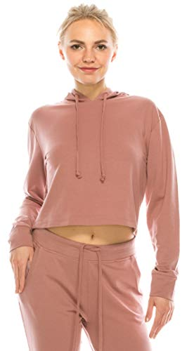 Women's Casual Crop Hoodie Sweatshirt - Long Sleeve Cute Cropped Plain Workout Drawstring Hooded Pullover Top FT4805 Mauve M