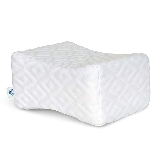 PharMeDoc Memory Foam Knee Pillow - Orthopedic Knee Wedge Pillow for Side Sleepers - Sciatica, Back, Leg, Pregnancy, Hip and Joint Pain Relief- New 2019 Model