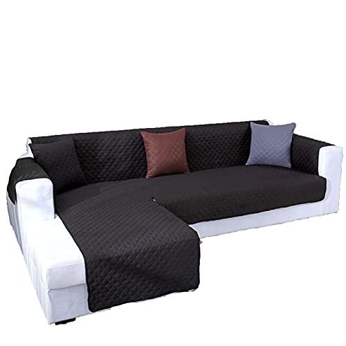BSZD wasserdichte Ecksofa-Cover, für Wohnzimmer Universal l Form gesteppter Couchabdeckung, Fester Slipcover Sofa Protector 1/2 / 3Seater (Color : Black, Specification : 2 Seater S 116x190cm)