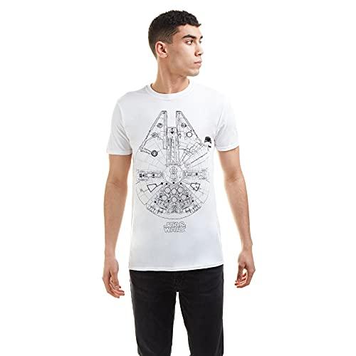 Star Wars Millenium Lines T-Shirt, Bianco, S Uomo