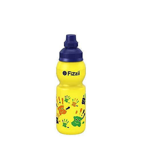 Fizzii Kinder- und Freizeittrinkflasche 330 ml (auslaufsicher bei Kohlensäure, schadstofffrei, spülmaschinenfest, Motiv: Hände)